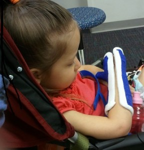 Girl with Hemiplegia Escaping from Constraint Therapy Brace