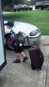 childhood hemiplegia and karate - suitcase