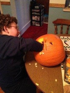 Pumpkin Carving Pediatric Stroke Survivor Nick