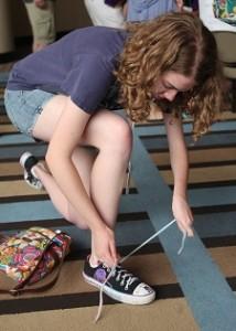 one-handed-shoe-tying-perinatal-stroke-survivor